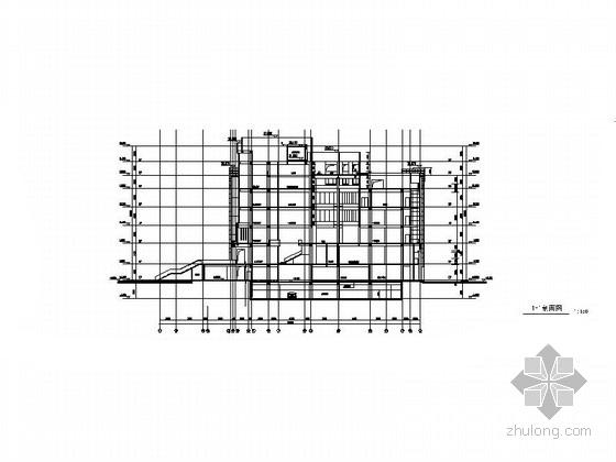 [上海]10层现代风格高校图书馆建筑施工图(知名设计院)-10层现代风格高校图书馆建筑剖面图