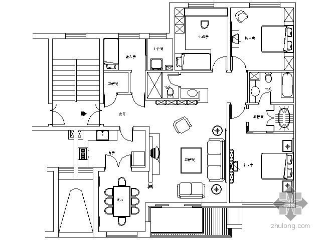 万科现代四居样板房施工图(含实景)