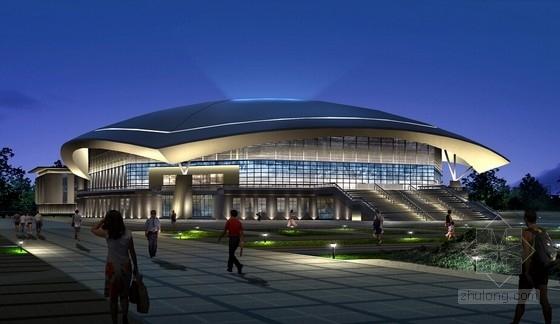 容纳3000人两万平钢管桁架结构体育馆全套施工图(钢结构 砼结构)