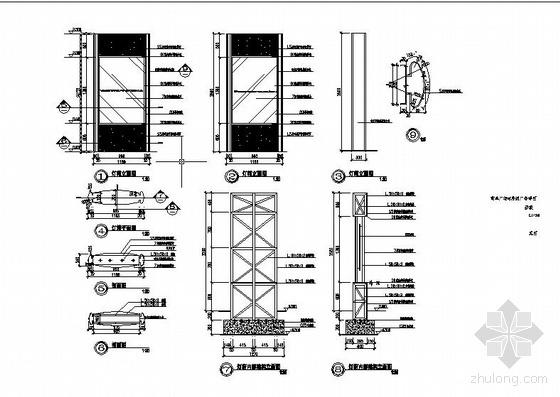 某商业广场内序列广告结构节点构造详图
