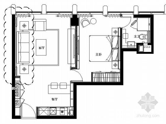 现代风格酒店公寓E型套房室内装修图(含效果)