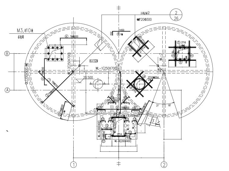 水泥厂双仓结构图(CAD、5张)