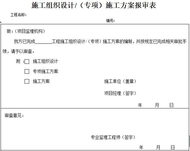 最新施工组织设计方案报审表