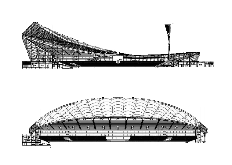[海南]海口体育场项目全套建筑施工图(最新+168张CAD)
