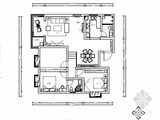 [原创]126平3室2厅温馨中式三居室室内装修施工图(含效果 推荐!)