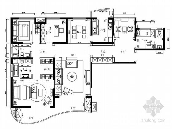 [江苏]现代时尚四室两厅样板间室内施工图(含效果图材料清单)