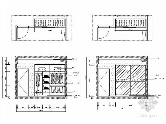 [安阳]风景秀丽小高层现代三居室装修施工图书房书柜立面图