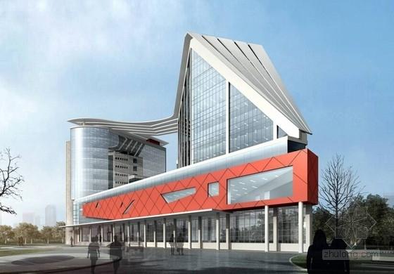 [天津]现代风格帆船状港务大楼建筑设计方案文本-现代风格帆船状港务大楼建筑效果图