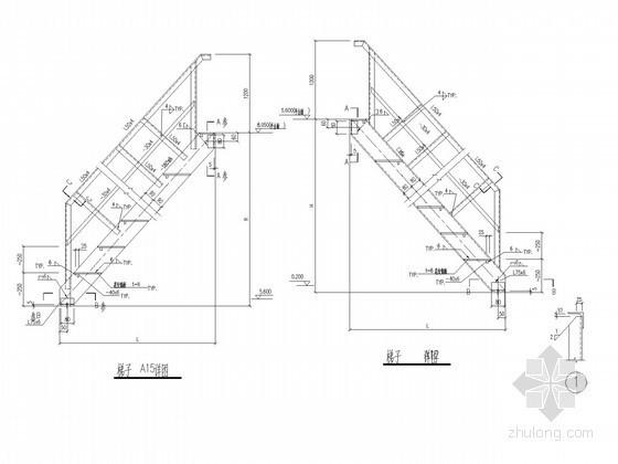 水泥库平台钢楼梯节点构造详图
