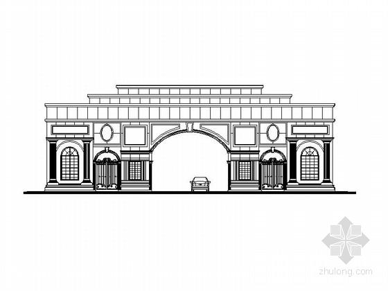 [成都]欧式风格小区大门建筑设计施工图(两个方案 知名设计院)