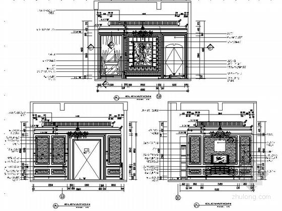 [苏州]奢华欧式风格商务会所六层董事区室内装修图(含效果)立面