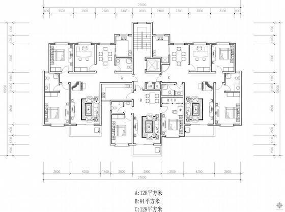 塔式高层一梯三户户型图(128/91/129)