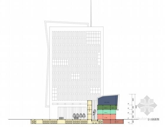 [合肥]大跨度空间广告及电视购物办公综合体建筑设计方案文本(含CAD)-大跨度空间广告及电视购物办公综合体建筑剖面图