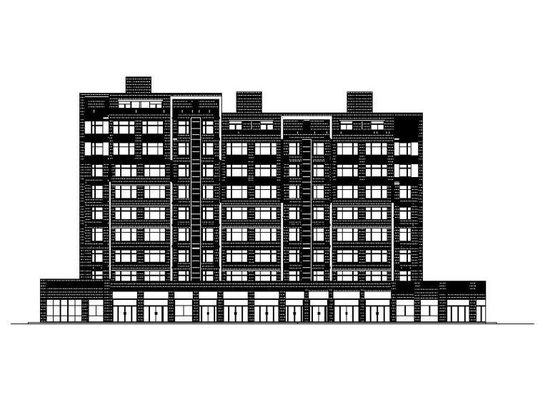 [宁夏]高层现代贴砖立面住宅带商业建筑施工图