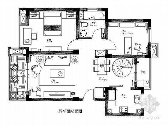 [徐州]浪漫简欧2层小别墅室内设计施工图(含效果图)