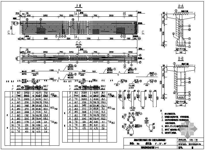 装配式预应力混凝土T梁桥(先简支后结构连续)上部构造通用图[跨径:20m,桥面宽度:整体式路基24.
