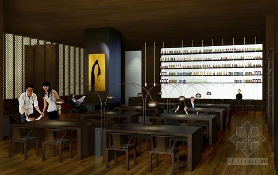 [武汉]特色奢华五星级度假酒店设计概念方案图西餐厅效果图