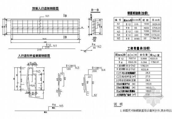76m预应力混凝土铰接斜腿刚构人行道预制板及栏杆座钢筋节点详图设计