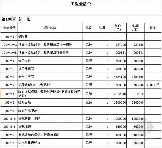 [天津]高速公路项目工程量清单报价实例