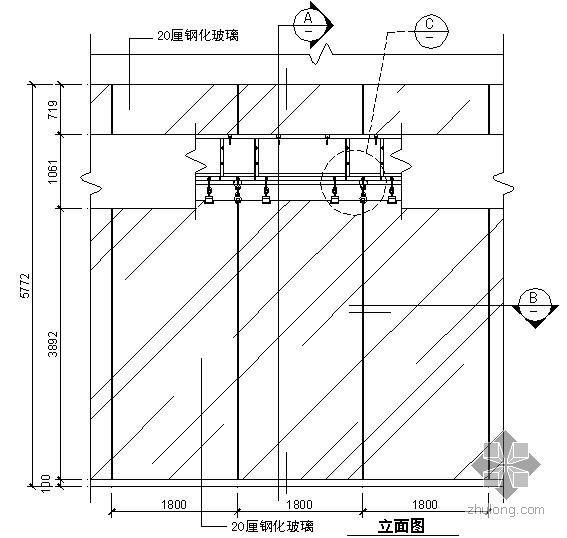 某吊挂式玻璃幕墙节点构造详图(二)(立面图)