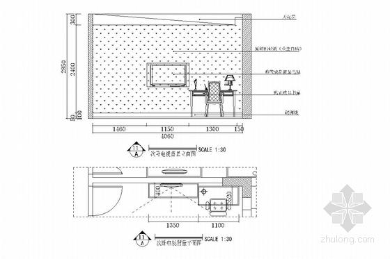 双卧朝阳南北通透欧式风格两居室装修图(含效果图) 次卧立面图