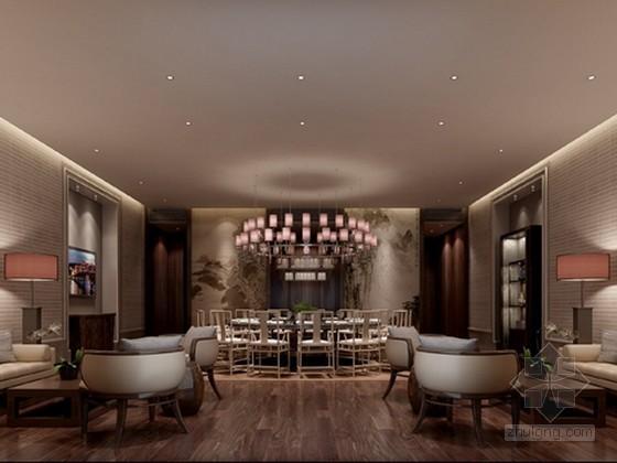 现代中式风格餐厅包厢3d模型下载