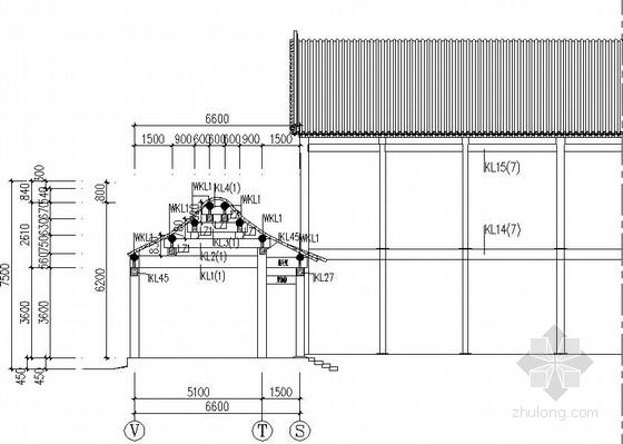 二层仿古长廊结构施工图