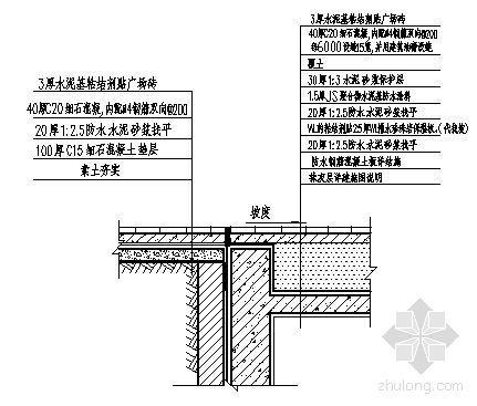地下室顶面防水构造大样(广场部分)