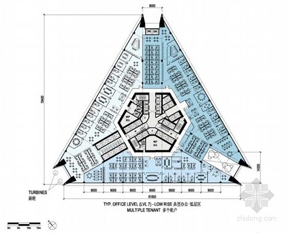 超高层玻璃幕墙办公塔楼建筑设计平面图