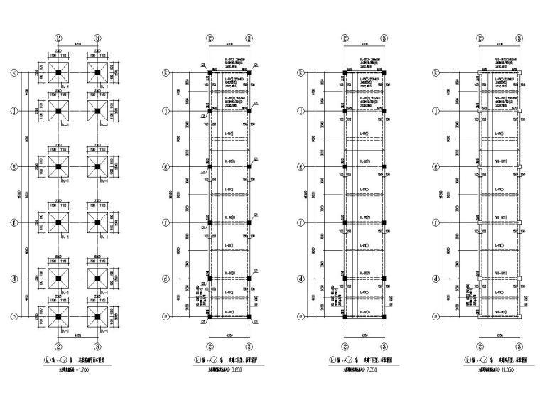 中学连接各栋楼连廊结构施工图