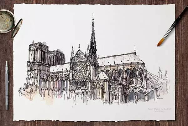手绘世界最著名的40个建筑!