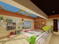 某幼儿园书吧及图书馆与绘画馆室内设计实景图