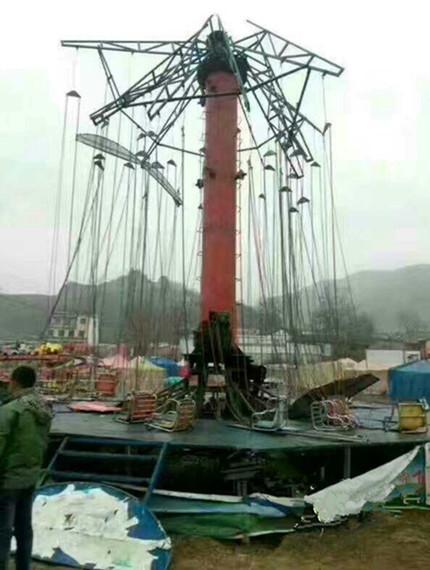 甘肃西和一游乐设施支架坍塌,造成9人受伤!