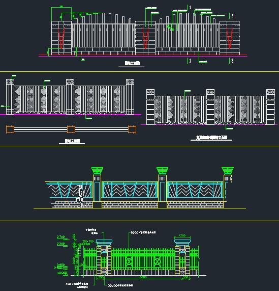 围墙铁艺栏杆方案CAD图_9