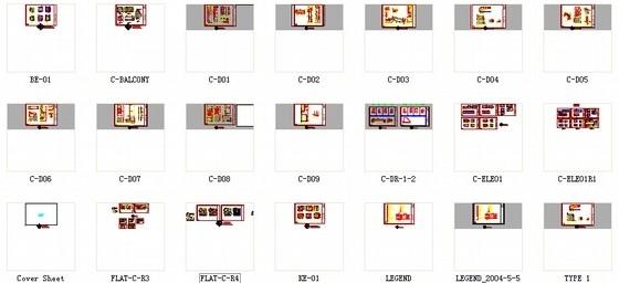 [广东]名师设计多层住宅区C型高档现代四居室装修施工图资料图纸总缩略图