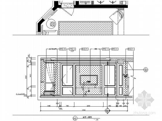 [北京]房山区现代高档四居室样板间装修施工图客厅立面图