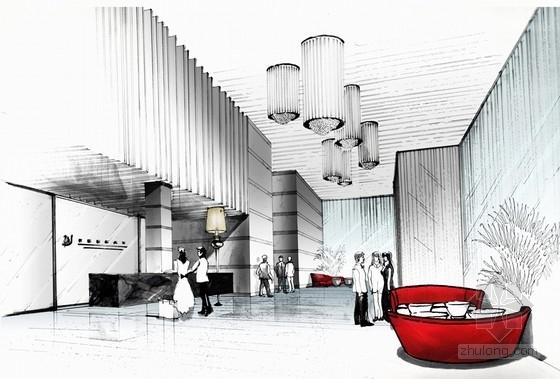 [福建]四星级现代温泉酒店室内装修设计方案大堂手绘方案