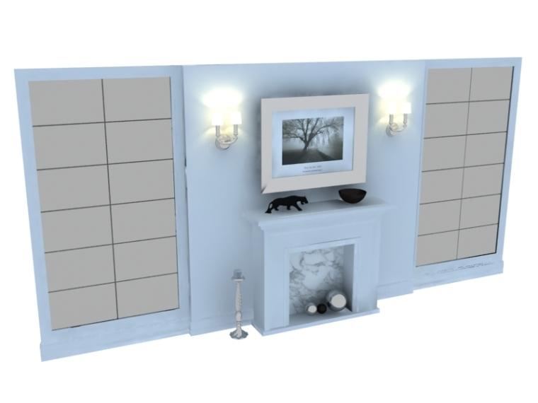 简约背景墙3D模型下载