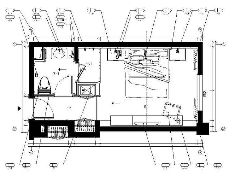 精品酒店A1房型客房设计施工图(含效果图)