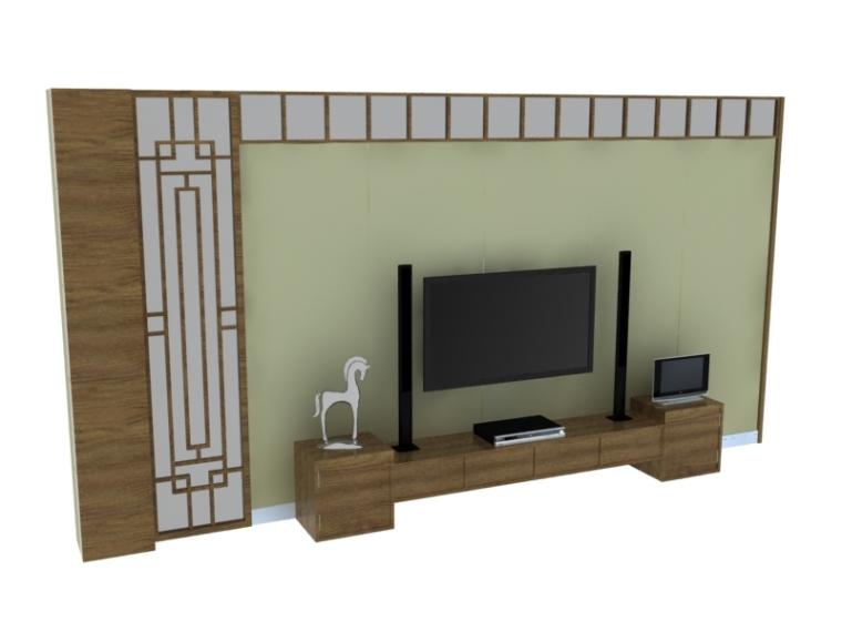 中式电视墙3D模型下载