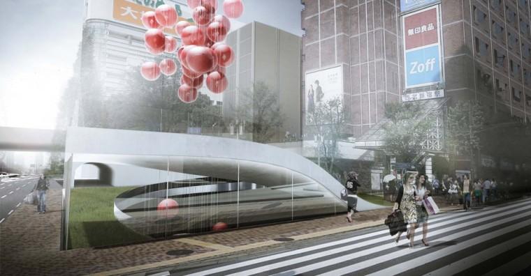 日本垂直墓地概念景观