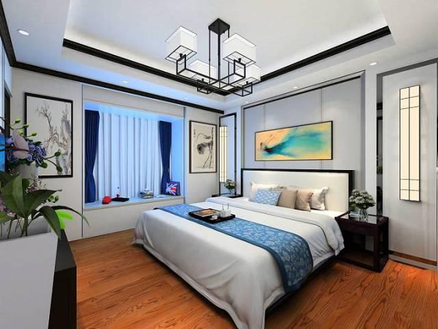 新中式魅蓝轩120平效果图-新中式《魅蓝轩》第9张图片