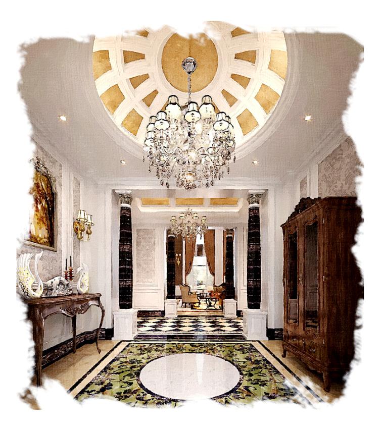 欧式水晶吊灯资料下载-郑州家装设计枫丹白露--郑州某会所设计