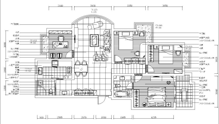 超现代风格三室二厅装修施工图设计(附效果图)
