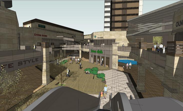 现代下沉式广场与大型商业建筑sketchup模型