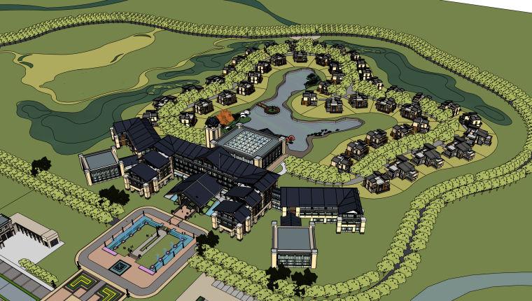 民宿旅游度假区整体建筑设计模型