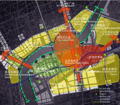 上海世博会规划设计方案文本-后续利用规划结构分析图