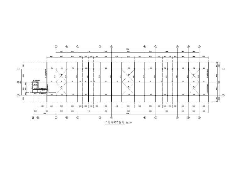 [遵义]二层钢框架结构收费天棚施工图(建筑、结构及装饰)
