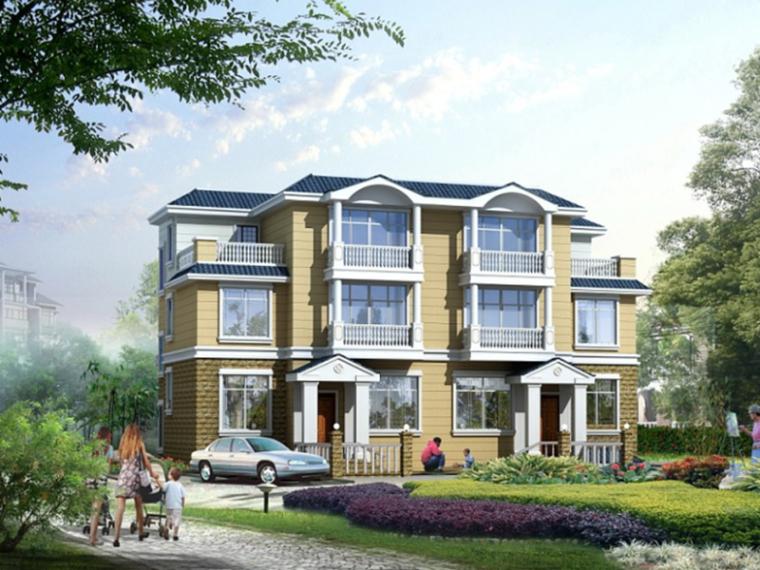 户型为三层两户双联式别墅建筑设计(包含效果图+CAD)