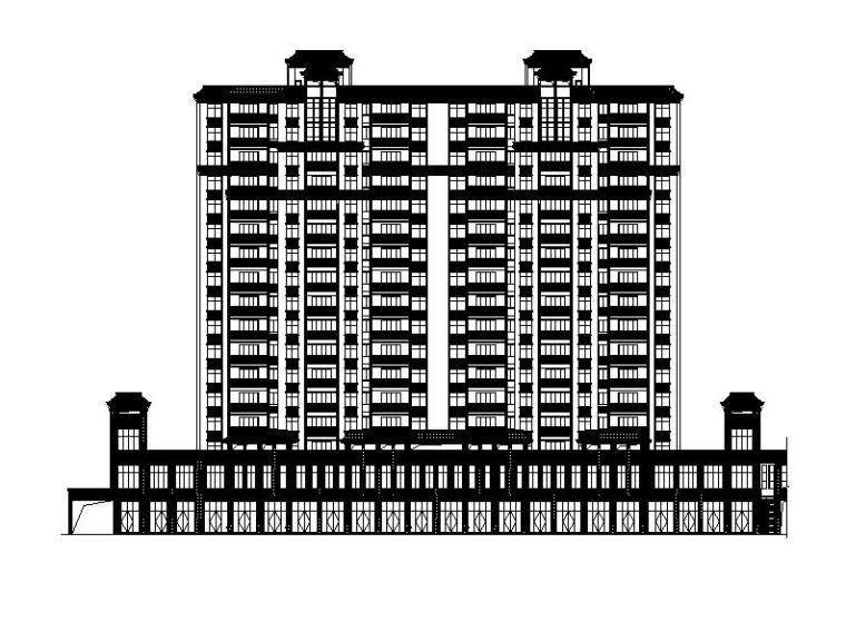 [福建]高层塔式对称布局框剪结构住宅建筑施工图